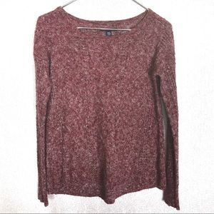 American Eagle Red Marled Cabin Knit Fuzzy Sweater